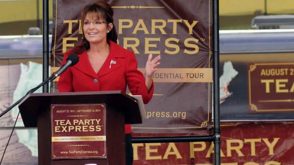 Sarah Palin at a Tea Party Express rally this week in New Hampshire.