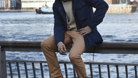 """Valet magazine wants readers to use its site as a """"concierge to a well-styled life."""" Its shopping engine offers looks such as this one, which features a Field jacket, sweater by Patrik Ervell, shirt by J.Crew, pants by Shipley & Halmos and boots by Mark McNairy."""