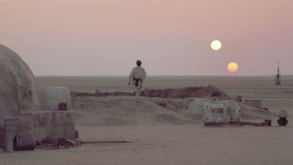 "The iconic double sunset from ""Star Wars: A New Hope."""