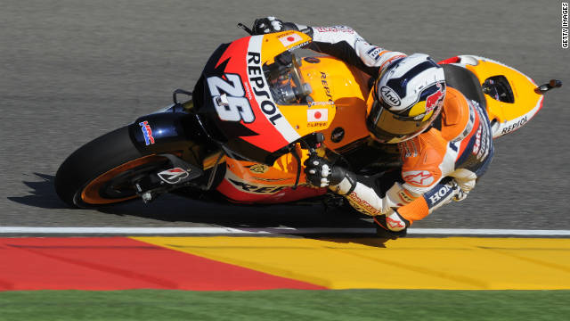 Spain's Dani Pedrosa set the fastest time at a shortened practice session at the Aragon circuit.