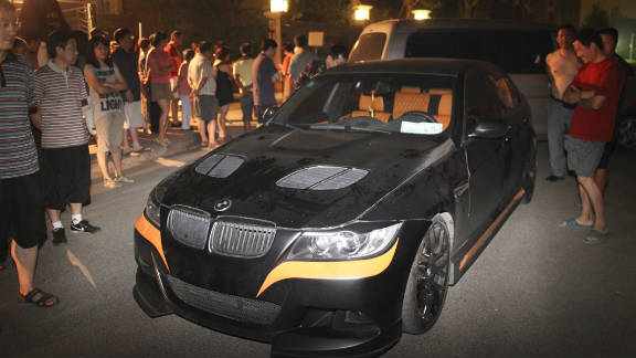 The BMW reportedly driven by Li Tianyi, the son of a Chinese army general