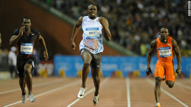 Usain Bolt powers clear of his rivals to run the fastest 100 meters of 2011 in Brussels