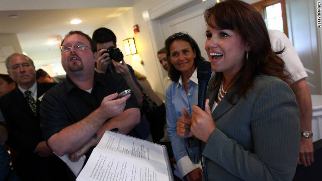 Christine O'Donnell pictured at a Virginia Tea Party rally.