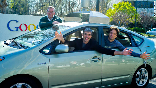 Google's Eric Schmidt, Larry Page and Sergey Brin in a  self-driving car on January 20, 2011