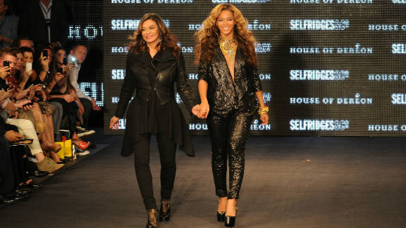 Tina and Beyonce Knowles at the launch of House Of Dereon at Selfridges in London on September 17.