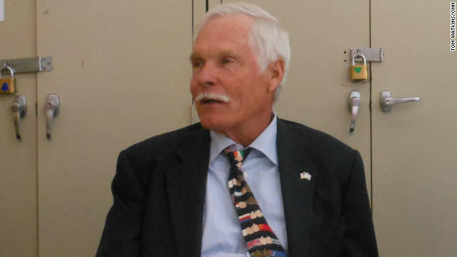 Ted Turner speaks to an audience Monday at the 92nd Street Y in New York City about energy options in the United States.