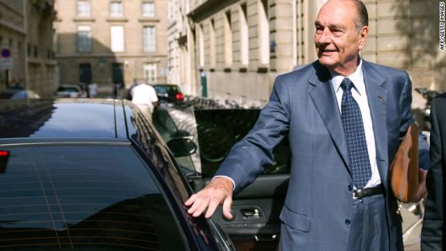 Former French President Jacques Chirac arrives at his office, September 1.