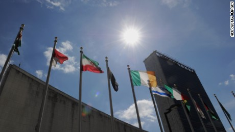 Flags fly outside United Nations headquarters in New York.