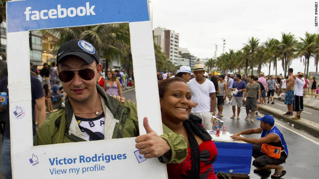 A man dressed as a Facebook profile celebrates Carnival in Rio de Janeiro in March.