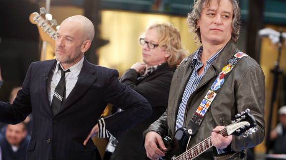 "Michael Stipe, Mike Mills and Peter Buck of R.E.M. perform on ""Today"" in 2008."