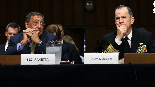 Defense Secretary Leon Panetta, left, and Adm. Michael Mullen testify before the Senate Armed Services Committee.