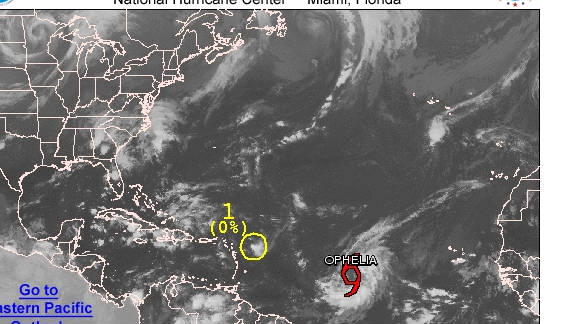 Ophelia was in the central Atlantic early Thursday, but posed no immediate threat to land