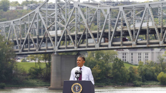 President Barack Obama speaks to a crowd in front of the Brent Spence Bridge on September 22 in Cincinnati, Ohio, calling for Speaker John Boehner and Senate Minority Leader Mitch McConnell to pass his jobs bill.