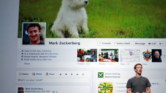 """Mark Zuckerberg unveils a new version of the Facebook profile page called """"Timeline."""""""