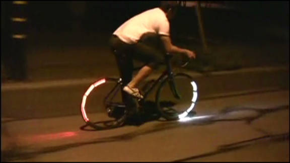 The blinking of the lights is timed in order to prevent them from shining into riders