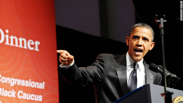 President Barack Obama addresses the Congressional Black Caucus Foundation Annual Phoenix Awards on Saturday.