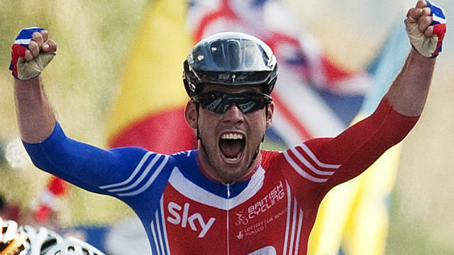 Mark Cavendish's win in the men's road race took Britain to the top of the medals table