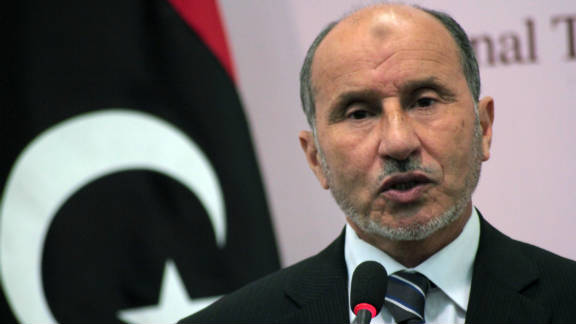 National Transitional Council Chairman Mustafa Abdel Jalil briefed the press before talks in Benghazi.