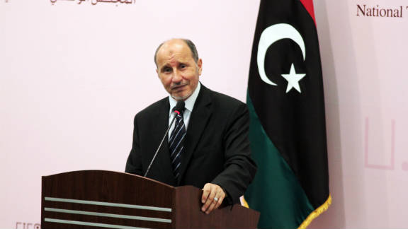 National Transitional Council chief Mustafa Abdel Jalil speaks to the press in Benghazi on September 24, 2011.