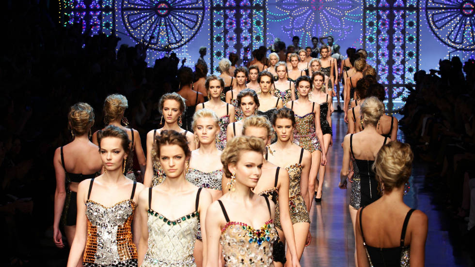 Models display creations as part of the Dolce & Gabbana Spring-Summer 2012 ready-to-wear collection.