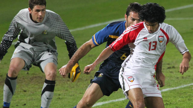 UAE international Theyab Awana in action against Australia before last January's AFC Asian Cup in Qatar
