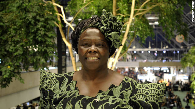 Nobel Peace Prize Laureate Wangari Maathai poses after a meeting in Copenhagen on December 15, 2009.