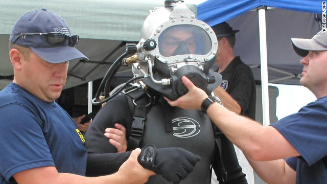 A member of the FBI's elite Technical Dive Team gets ready for training in Key West, Florida.