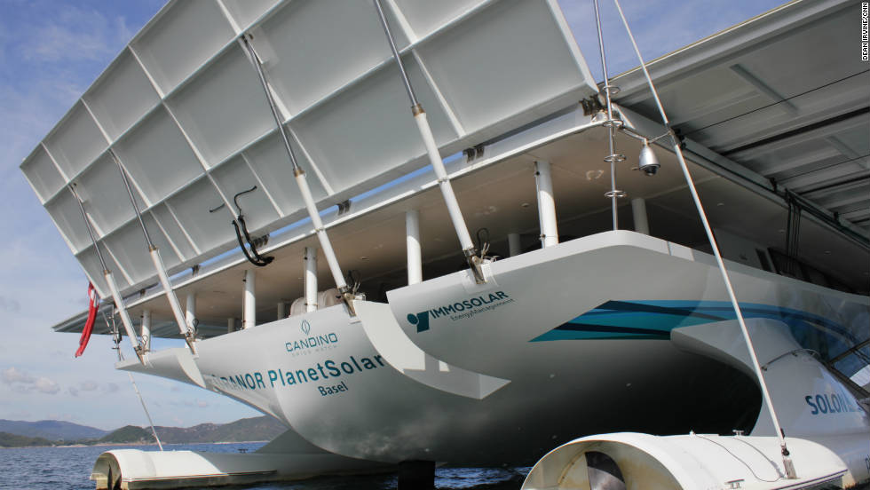 The boat is completely powered by photovoltaic cells which produce around 94 kilowatts of power on a sunny day.