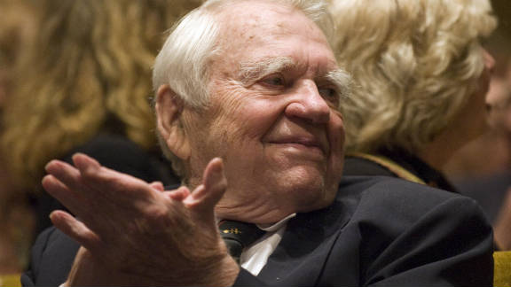 """Former """"60 Minutes"""" commentator Andy Rooney, seen here in 2009, is hospitalized in stable condition."""