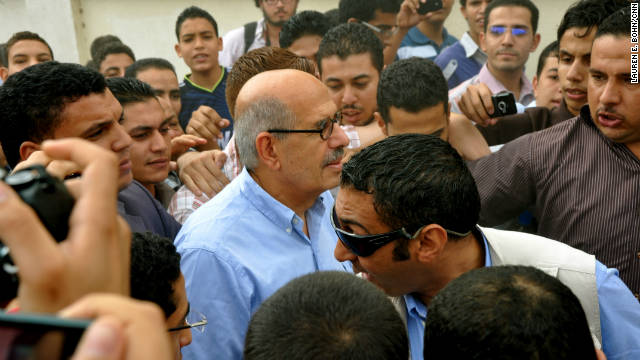 Mohamed ElBaradei visits a mosque in his home town of Ibyar as part of his so-far unofficial campaign to be Egyptian president.
