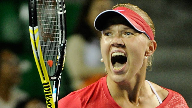 Kaia Kanepi celebrates her first-ever victory over Caroline Wozniacki in the Pan Pacific Open