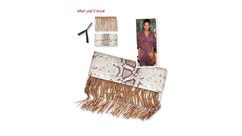 Fringed clutch, inspired by Joy Bryant.