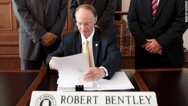 Alabama Gov. Robert Bentley signed the state's immigration bill into law in June.