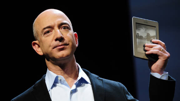 Amazon.com CEO Jeff Bezos unveils the Kindle Touch, which uses infrared for its touch screen.