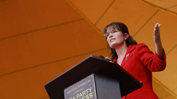 Sarah Palin addresses a tea party rally in New Hampshire on Labor Day.