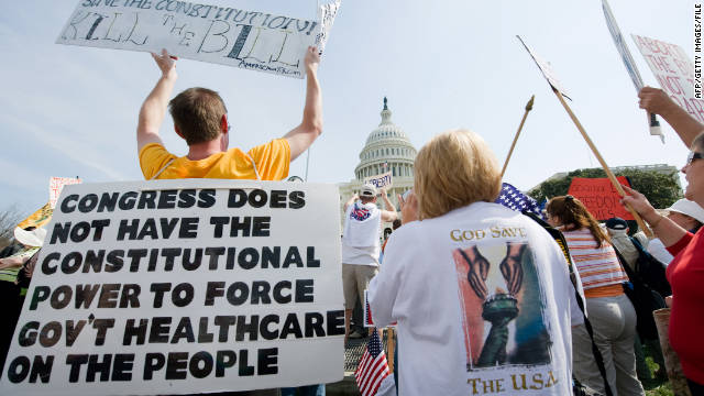 Tea Party demonstraters outside the U.S. Capitol protest the health care bill, claiming it's not constitutional, in March 2010.