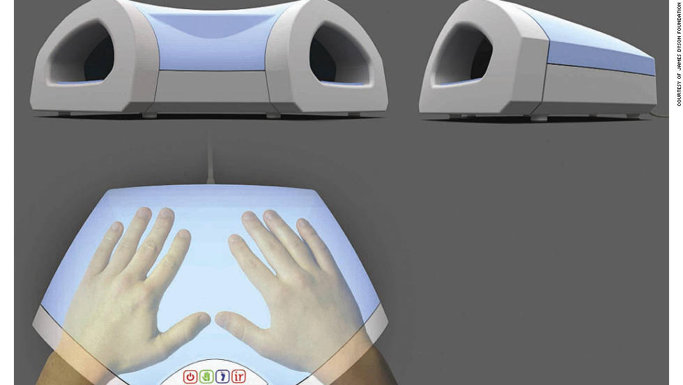 "UNITED KINGDOM: ""Air Massage"" uses pvc airbags to create ""a wave of pressure across the hand"" in conjuction with infrared heat to soothe hand joints of arthritis sufferers"