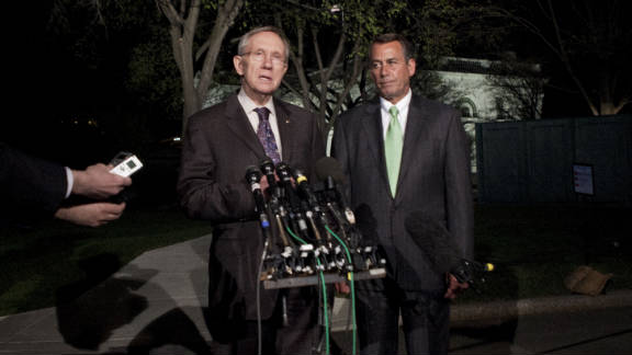 Senate Majority Leader Harry Reid and Speaker of the House John Boehner talk to the media about a budget stalemate in April.