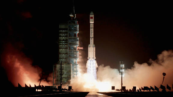 The rocket carrying China's first space laboratory module, Tiangong-1, lifts off from the Jiuquan Satellite Launch Center on September 29.
