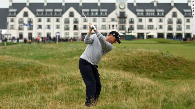 Northern Ireland's Michael Hoey plays his second shot to the 18th green at the Carnoustie Golf Links.