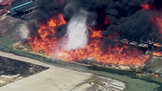 Explosions go off during chemical fire