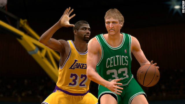"You can make NBA legends Magic Johnson and Larry Bird face off in """"NBA 2K11."""