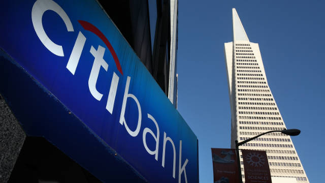 A sign is displayed on the exterior of a Citibank branch office
