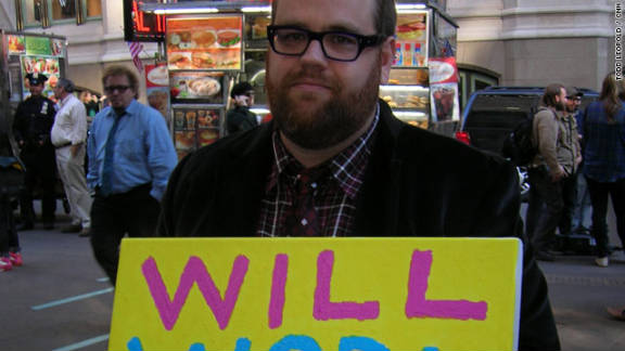 "Jeffrey Marx, 34, is a receptionist from New York. ""I spent all week reading about it, and I was inspired to come down here and talk to people,"" he said. ""In the time I've been down here I've talked to some of the smartest people I've ever talked to, and some of the kookiest -- and I think both are necessary. I think it's a really fascinating movement."""