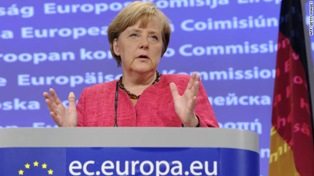 German Chancellor Angela Merkel, in Brussels after her meeting with European Commission chief Jose Manuel Barroso.