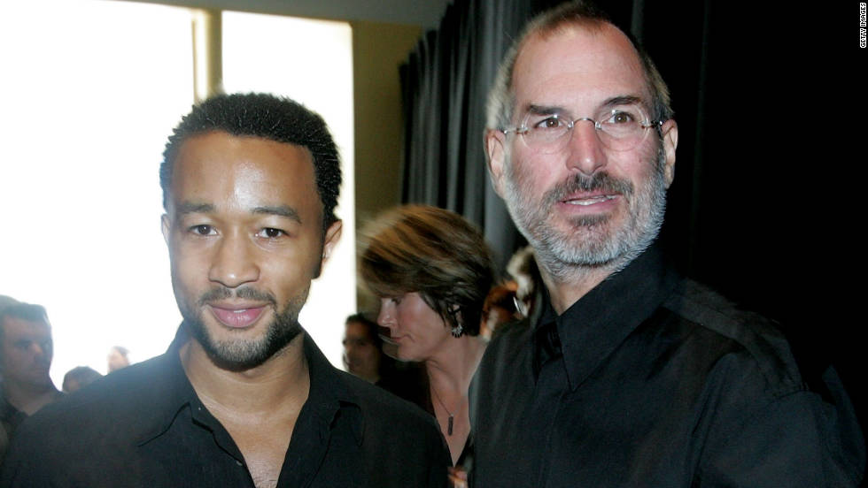 "Musician John Legend hangs with <a href=""http://www.cnn.com/specials/tech/steve-jobs-the-man-in-the-machine"">Jobs</a> during an Apple media event in September 2006 in San Francisco."