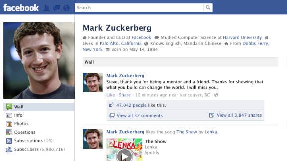 A screen shot of Mark Zuckerberg's Facebook page, commenting on the death of Steve Jobs.