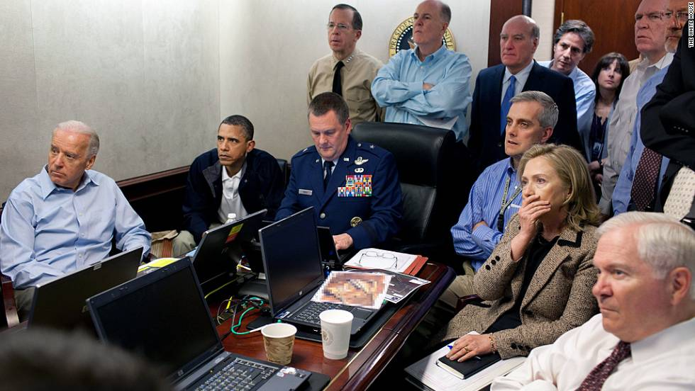 President Obama, along with members of the national security team, watch in anticipation in the Situation Room of the White House on May 1, 2011. On May 2, in the early morning hours, a small group of U.S. Forces raid a compound in Abbottabad, Pakistan. In the ensuing firefight, al Qaeda leader Osama bin Laden is killed.