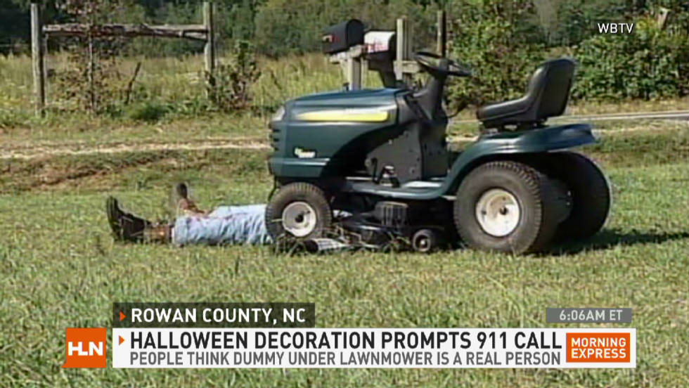 Horrible lawnmower accident is a fake