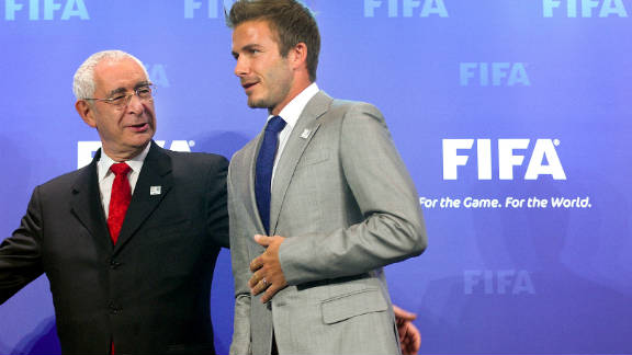 British newspaper Mail On Sunday reveals that English bid leader David Triesman (pictured here with soccer star David Beckham) was secretly recorded making comments about alleged attempts by Spain and Russia to bribe referees at the imminent 2010 FIFA World Cup.